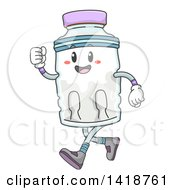 Clipart Of A Water Bottle Mascot Running Royalty Free Vector Illustration