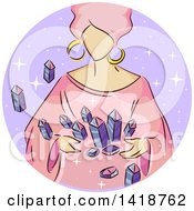 Clipart Of A Sketched Gypsy Woman With Crystals Royalty Free Vector Illustration by BNP Design Studio