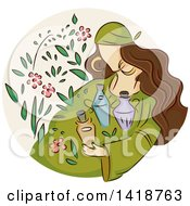 Clipart Of A Sketched Gypsy Woman With Herbs And Potions Royalty Free Vector Illustration by BNP Design Studio