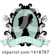 Clipart Of A Silhouetted Victorian Woman Cameo In A Floral Frame With A Blank Ribbon Banner Royalty Free Vector Illustration