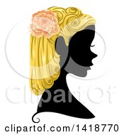 Clipart Of A Silhouetted Woman In Profile With Blond Hair And A Flower Royalty Free Vector Illustration