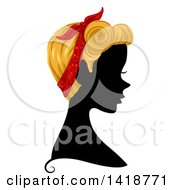 Silhouetted Woman In Profile With Blond Hair And A Bandana