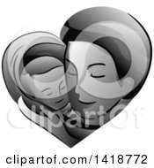 Clipart Of A Grayscale Father Holding His Baby In A Heart Royalty Free Vector Illustration