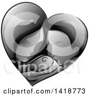 Clipart Of A Grayscale Mother And Father Holding Their Baby In A Heart Royalty Free Vector Illustration