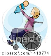 Clipart Of A Sketched Blond Caucasian Mother Sitting In A Wheelchair And Holding Up Her Baby Royalty Free Vector Illustration