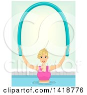 Clipart Of A Blond Caucasian Woman Working Out In A Swimming Pool With A Noodle Royalty Free Vector Illustration by BNP Design Studio