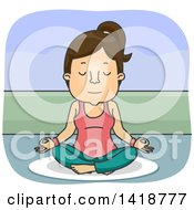 Clipart Of A Cartoon Brunette White Woman Sitting In The Lotus Pose Royalty Free Vector Illustration by BNP Design Studio