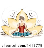 Sketched Brunette White Woman Sitting In A Lotus Pose