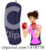 Clipart Of A Brunette Caucasian Woman Boxing With A Punching Bag Royalty Free Vector Illustration by BNP Design Studio
