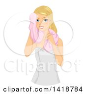 Clipart Of A Blond Caucasian Woman Towel Drying Off After A Bath Royalty Free Vector Illustration