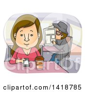 Cartoon Brunette Woman Drinking Coffee At A Diner And Being Stalked By A Man
