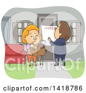 Clipart Of A Cartoon Caucasian Woman Being Evicted From Her Home Royalty Free Vector Illustration by BNP Design Studio