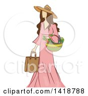 Clipart Of A Sketched Brunette Caucasian Woman Carrying A Bag And Basket Of Vegetables Royalty Free Vector Illustration by BNP Design Studio