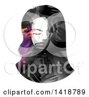 Clipart Of A Womans Face Being Covered By Hands Royalty Free Vector Illustration
