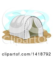 Clipart Of A Refugee Camp Tent Royalty Free Vector Illustration