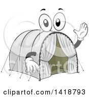 Clipart Of A Refugee Camp Tent Mascot Royalty Free Vector Illustration