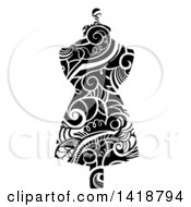 Clipart Of A Mannequin Made With Black And White Swirly Vines Royalty Free Vector Illustration by BNP Design Studio