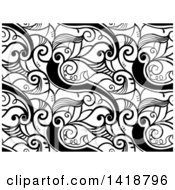 Clipart Of A Black And White Background With Swirl Vines Royalty Free Vector Illustration by BNP Design Studio