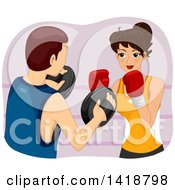 Clipart Of A Brunette Caucasian Woman Boxing With A Teacher Royalty Free Vector Illustration by BNP Design Studio
