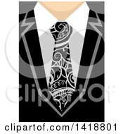 Clipart Of A Business Man Wearing A Tie With Swirl Vines Royalty Free Vector Illustration by BNP Design Studio