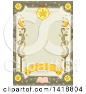 Clipart Of A Witchcraft Tarot Border Royalty Free Vector Illustration
