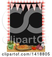 Clipart Of A Checkered Frame And Bunting Over Pizza And Ingredients Royalty Free Vector Illustration