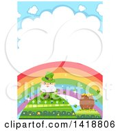 Clipart Of A Leprechaun And Pot Of Gold On Hills Under A Rainbow Royalty Free Vector Illustration