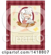 Clipart Of A Menu With Text Space And A Chef Holding A Cloche Royalty Free Vector Illustration