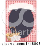 Clipart Of A Gingham Frame With A Basket Of Bread Royalty Free Vector Illustration by BNP Design Studio