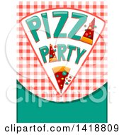 Clipart Of A Pizza Party Slice Over Gingham And Text Space Royalty Free Vector Illustration by BNP Design Studio