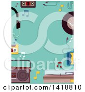 Clipart Of A Border Of Retro Music Items On Turquoise Royalty Free Vector Illustration