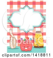 Clipart Of A Blank Label Over Happy Sewing Notion Mascots Royalty Free Vector Illustration