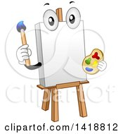 Clipart Of A Canvas And Art Easel Mascot Royalty Free Vector Illustration by BNP Design Studio