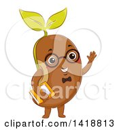 Clipart Of A Smart Bean Mascot Wearing Glasses Waving And Holding A Book Royalty Free Vector Illustration