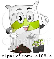 Clipart Of A Sack Of Fertilizer Mascot With Seedling Plants Royalty Free Vector Illustration