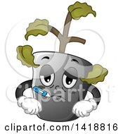 Clipart Of A Sick Plant With A Thermometer Royalty Free Vector Illustration
