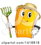 Clipart Of A Book Mascot Farmer Wearing A Straw Hat And Holding A Rake Royalty Free Vector Illustration