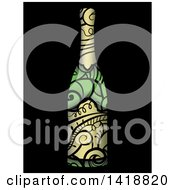 Wine Bottle With Swirl Vines On Black