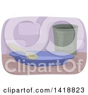 Clipart Of A Spoon On A Plate By A Cup Royalty Free Vector Illustration