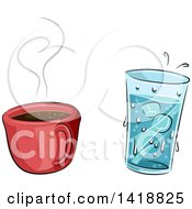 Cup Of Hot Coffee And Cold Water