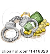 Clipart Of A Pair Of Handcuffs Over Coins And Cash Royalty Free Vector Illustration