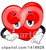 Clipart Of A Sad Heart Character Crying Royalty Free Vector Illustration by BNP Design Studio