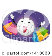 Clipart Of A Happy Moon On A Shopping Spree Royalty Free Vector Illustration