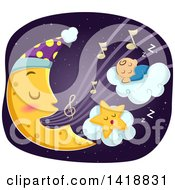Clipart Of A Crescent Moon Singing A Lullaby To A Sleeping Star And Baby Royalty Free Vector Illustration