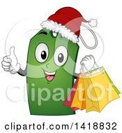 Clipart Of A Christmas Price Tag Character Giving A Thumb Up Royalty Free Vector Illustration by BNP Design Studio