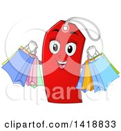 Clipart Of A Red Price Tag Holding Shopping Bags Royalty Free Vector Illustration by BNP Design Studio