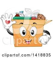 Clipart Of A Donation Box Mascot Waving Royalty Free Vector Illustration