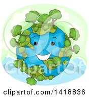 Clipart Of A Happy Earth Character With Trees Royalty Free Vector Illustration by BNP Design Studio