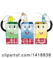 Clipart Of Three Recycling Bins Royalty Free Vector Illustration