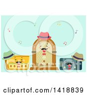 Clipart Of A Trio Of Vintage Radios Singing Royalty Free Vector Illustration